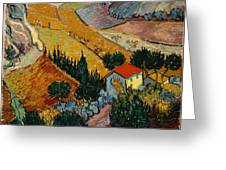 Landscape With House And Ploughman Greeting Card