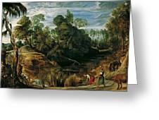 Landscape With Milkmaids And Cows Greeting Card