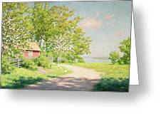 Landscape With Pickling Hens Greeting Card