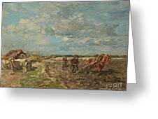 Landscape With Ploughmen Greeting Card