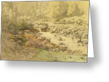 Landscape With Rocks In A River Greeting Card