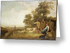 Landscape With Shepherds And Shepherdesses Near A Well Greeting Card