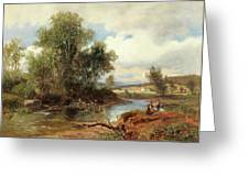 Landscape With Stream And Decorative Figures Greeting Card