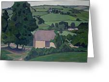 Landscape With Thatched Barn Greeting Card