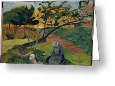 Landscape With Two Breton Women Greeting Card