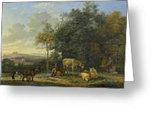 Landscape With Two Donkeys, Goats And Pigs Greeting Card