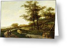 Landscape With Village Path And Men Greeting Card