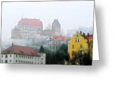 Landshut Bavaria On A Foggy Day Greeting Card by Christine Till
