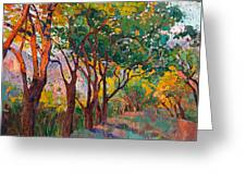 Lane Of Oaks Greeting Card by Erin Hanson