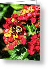 Lantanas And The Bee Greeting Card