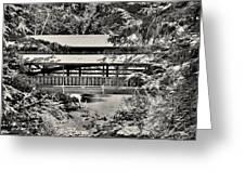 Lanterman's Mill Covered Bridge Black And White Greeting Card