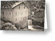Lanterman's Mill In Mill Creek Park Black And White Greeting Card