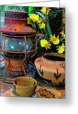 Lantern With Baskets Greeting Card
