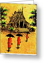 Procession To Temple, Lao Collection Greeting Card