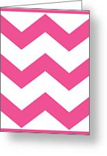 Large Chevron With Border In French Pink Greeting Card