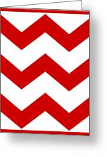 Large Chevron With Border In Red Greeting Card