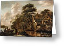 Large Farmstead On The Bank Of A River Greeting Card