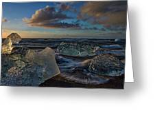 Large Icebergs At Dawn #4 - Iceland Greeting Card