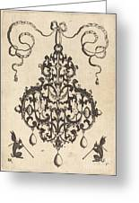 Large Pendant, Two Winged Fantasy Creatures With Trumpets At Bottom Greeting Card