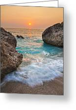 Large Rocks And Wave With Sunset On Paradise Island Greece Greeting Card