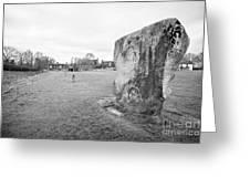Large Sarsen Stone Part Of The Outer Ring Stone Circle Avebury Stone Circles Wiltshire England Uk Greeting Card