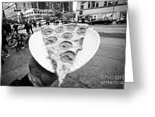 large single slice of pepperoni pizza New York City USA Greeting Card