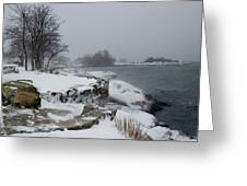 Large Stones Covered With Snow Greeting Card