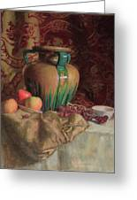 Large Vase With Apples Greeting Card