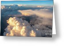 Large White Cloud From Passanger Airplace Window At Sunset Greeting Card