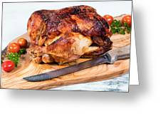 Large Whole Chicken Ready To Be Carved On Wooden Server Board  Greeting Card