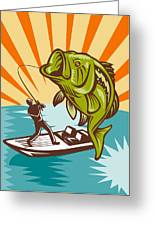 Largemouth Bass Fish And Fly Fisherman Greeting Card