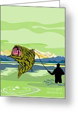 Largemouth Bass Fish Jumping Greeting Card