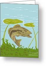 Largemouth Bass Fish Swimming Underwater  Greeting Card by Aloysius Patrimonio