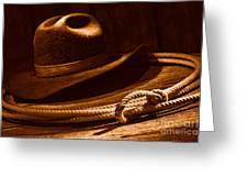 Lariat And Hat - Sepia Greeting Card
