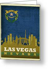 Las Vegas City Skyline State Flag Of Nevada Art Poster Series 018 Greeting Card