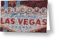 Las Vegas Sign Poker Chip Mosaic Greeting Card