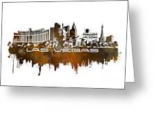 Las Vegas Skyline City Brown Greeting Card
