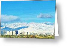 Las Vegas Strip And Mt Charleston Greeting Card