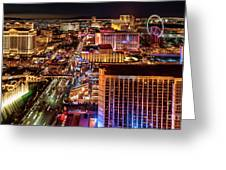 Las Vegas Strip North View Night 2 To 1 Ratio Greeting Card