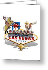 Las Vegas Symbolic Sign On White Greeting Card