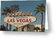Las Vegas Welcome Sign With Vegas Strip In Background Greeting Card