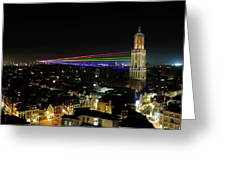 Laser Beams On The Dom Tower In Utrecht 23 Greeting Card
