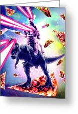 Laser Eyes Space Cat Riding Dog And Dinosaur Greeting Card