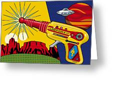 Laser Gun Greeting Card by Ron Magnes