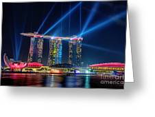 Laser Show At Mbs Singapore Greeting Card by Yew Kwang