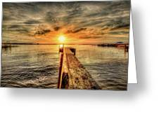 Last Call At Sunset Dock Greeting Card