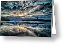 Last Light Isle Of Rum From Isle Of Eigg Greeting Card