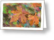 Last Of The Fall Leaves Abstract Digital Art Greeting Card