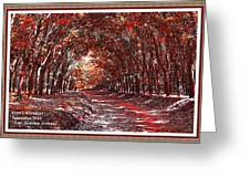 Late Autumn Avenue H A With Decorative Ornate Printed Frame. Greeting Card