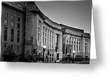 Late Evening At The Ronald Reagan Building In Black And White Greeting Card